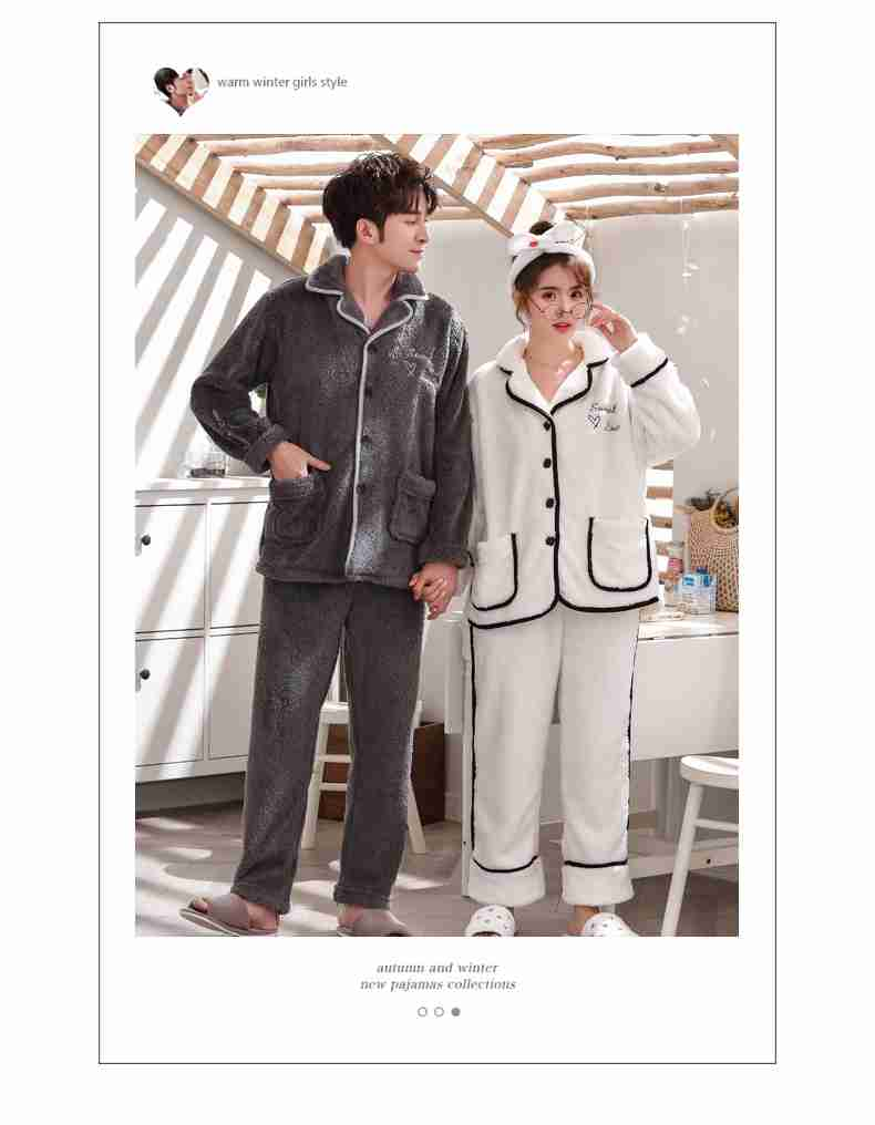 Flannel cute thick warm suit coral fleece men and women couple pajamas home clothes on sale