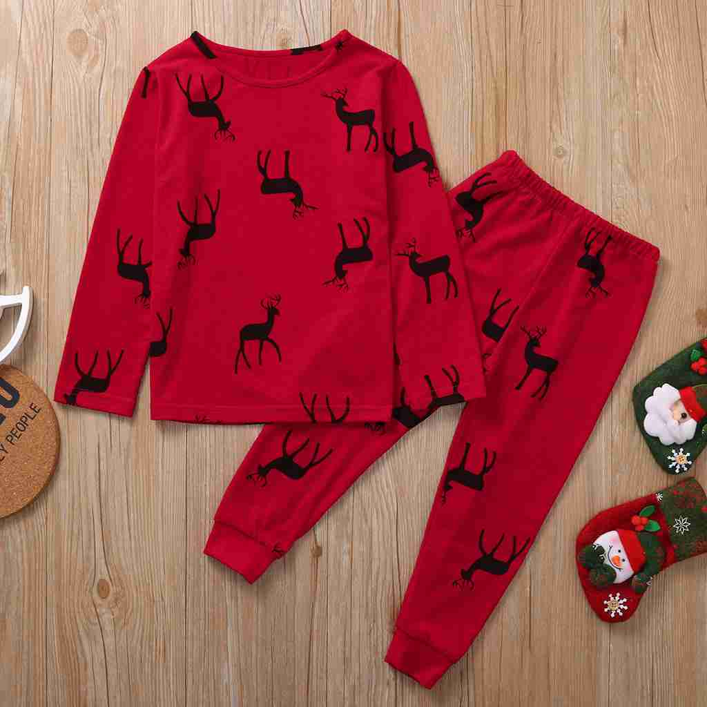 New European and American Christmas coating parent-child home service pajamas set on sale
