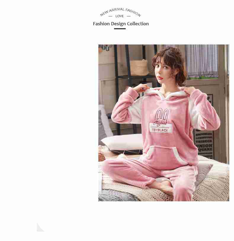 Coral fleece with hat thickened couple flannel pajamas set on sale