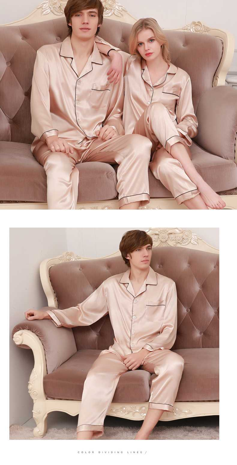 New couple pajamas ice silk long sleeve large size home service suit on sale 6