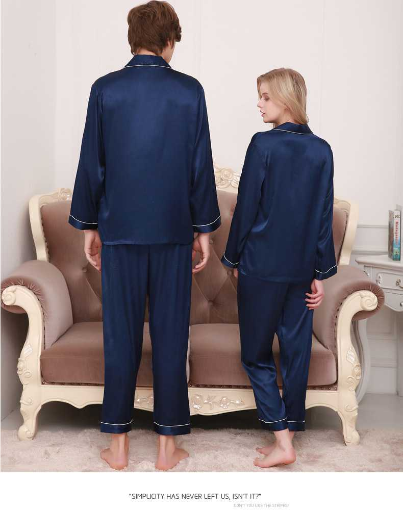 New couple pajamas ice silk long sleeve large size home service suit on sale 8