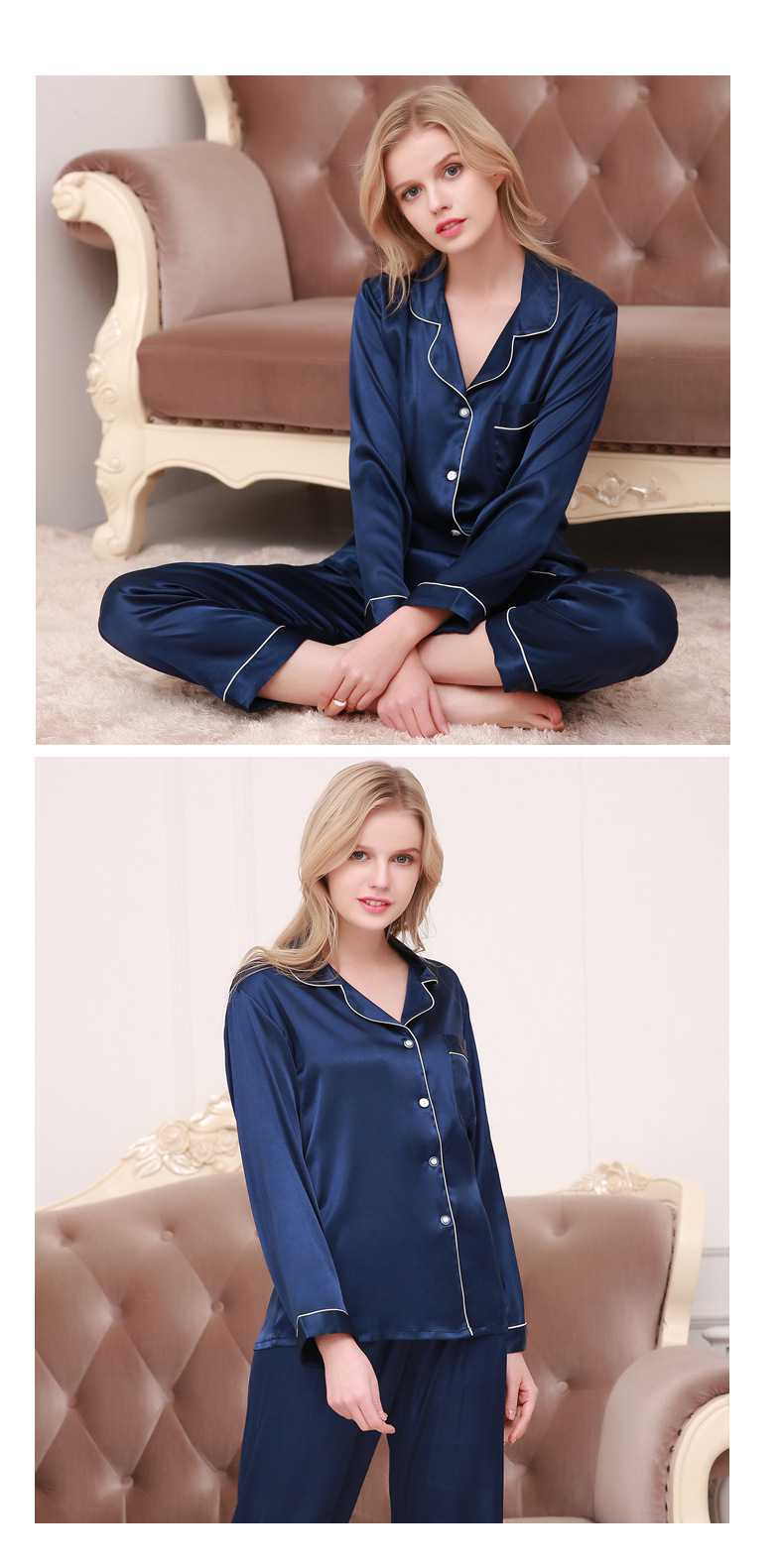 New couple pajamas ice silk long sleeve large size home service suit on sale 9