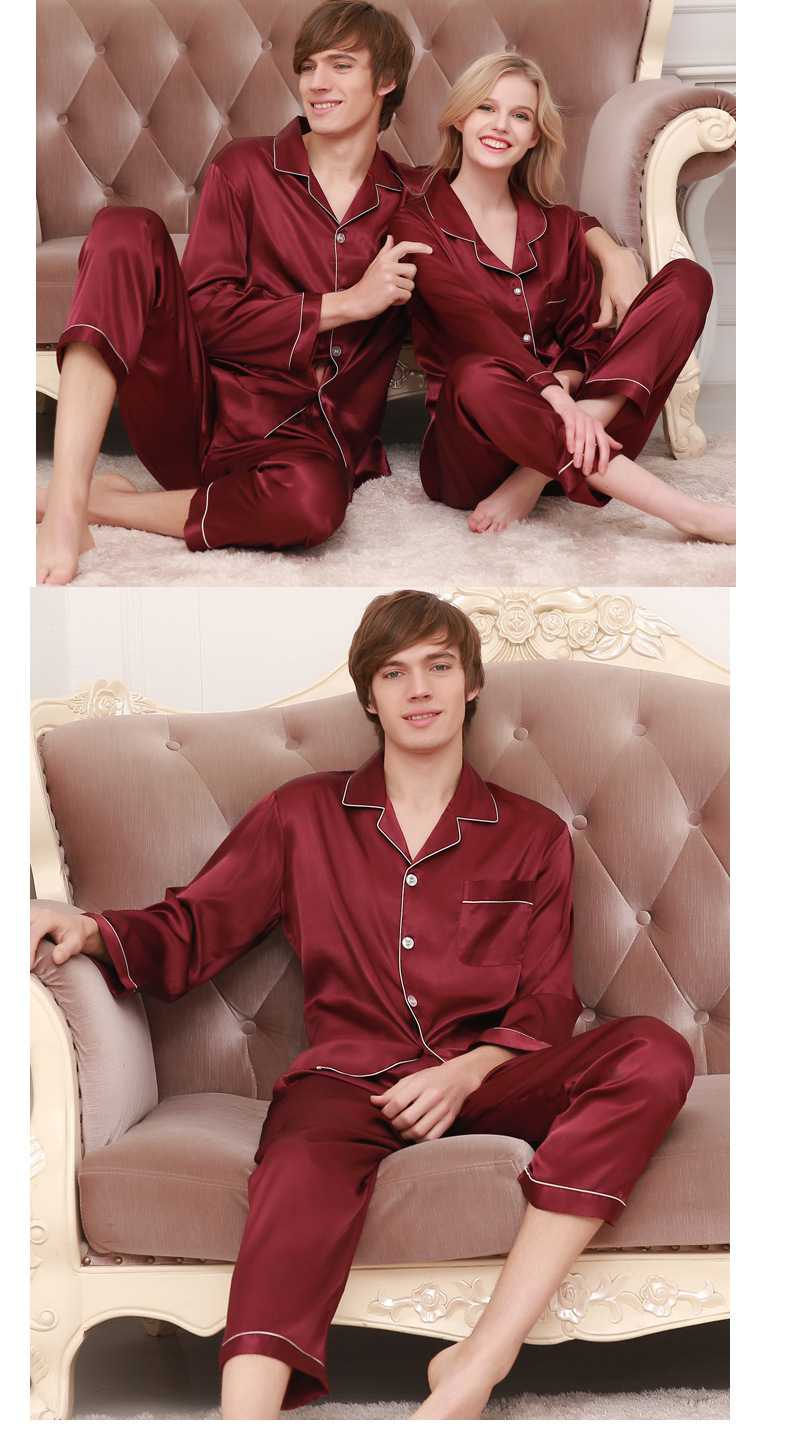 New couple pajamas ice silk long sleeve large size home service suit on sale 10