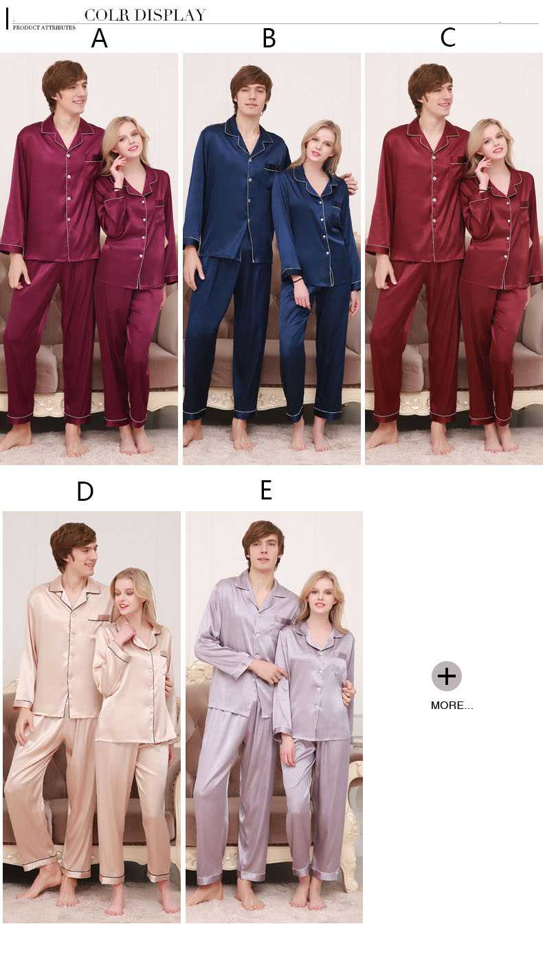 New couple pajamas ice silk long sleeve large size home service suit on sale 11