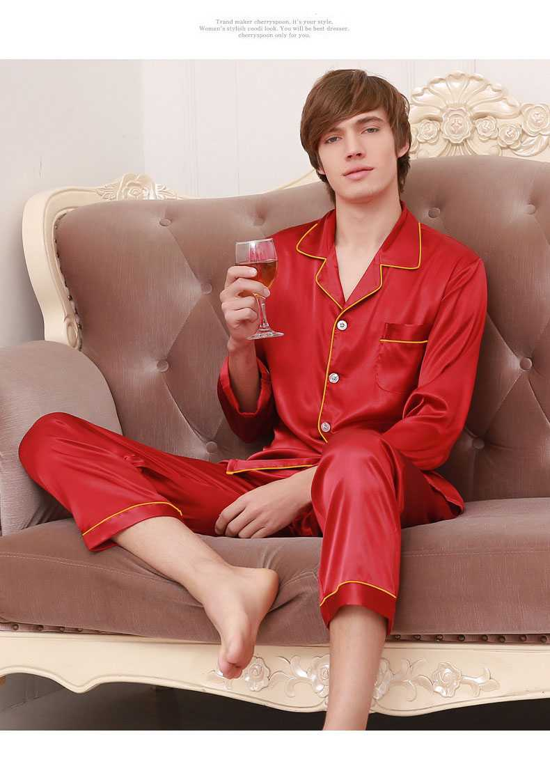 New couple pajamas ice silk long sleeve large size home service suit on sale 12