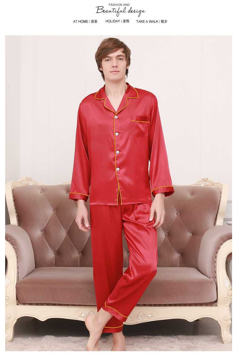 New couple pajamas ice silk long sleeve large size home service suit on sale 14
