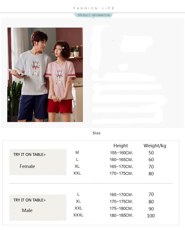 New Korean casual home service short-sleeved cotton men's and women's youth couple pajamas set on sale