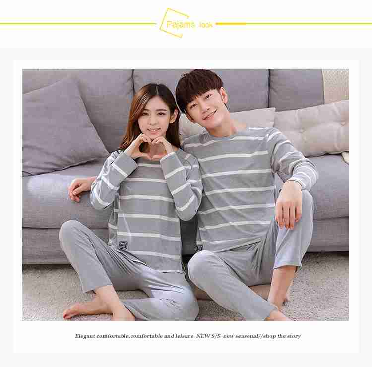 Korean cartoon couple long sleeve cotton men and women casual suit pajamas home service on sale