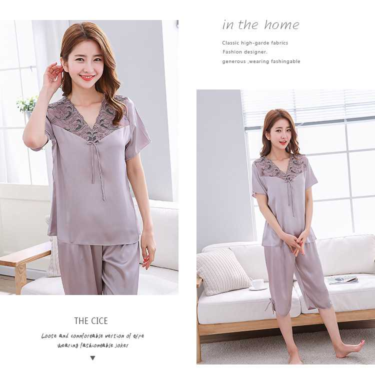 Mixed Batch of Simulation Silk Short-sleeved Thin Section Casual Pullover Couple Pajamas on sale 11