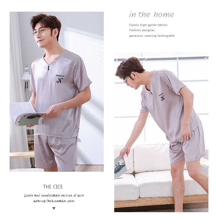 Mixed Batch of Simulation Silk Short-sleeved Thin Section Casual Pullover Couple Pajamas on sale 13