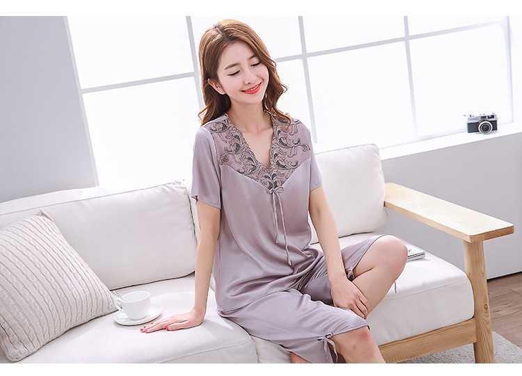Mixed Batch of Simulation Silk Short-sleeved Thin Section Casual Pullover Couple Pajamas on sale 2