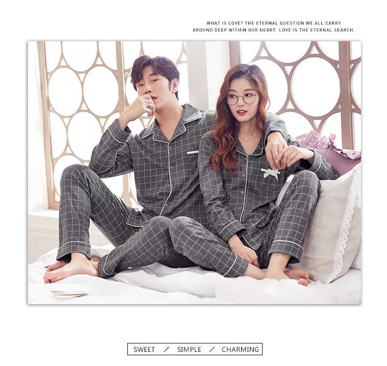 Cotton long-sleeved cardigan plaid casual home wear couple pajamas set on sale