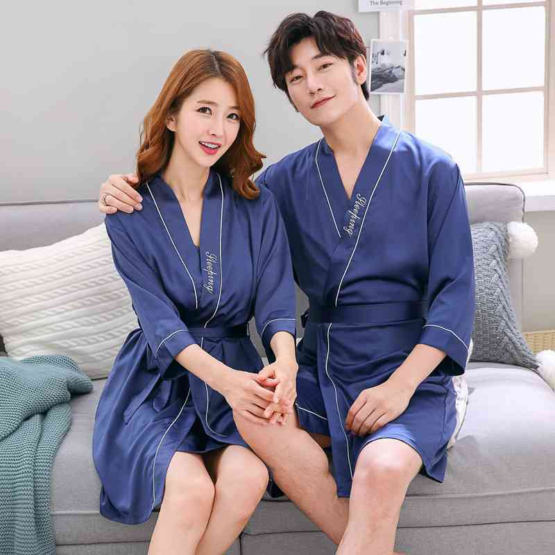 Silk Sensual Home Two-piece Breathable Comfortable Sweet Simple Couple Nightgown on sale