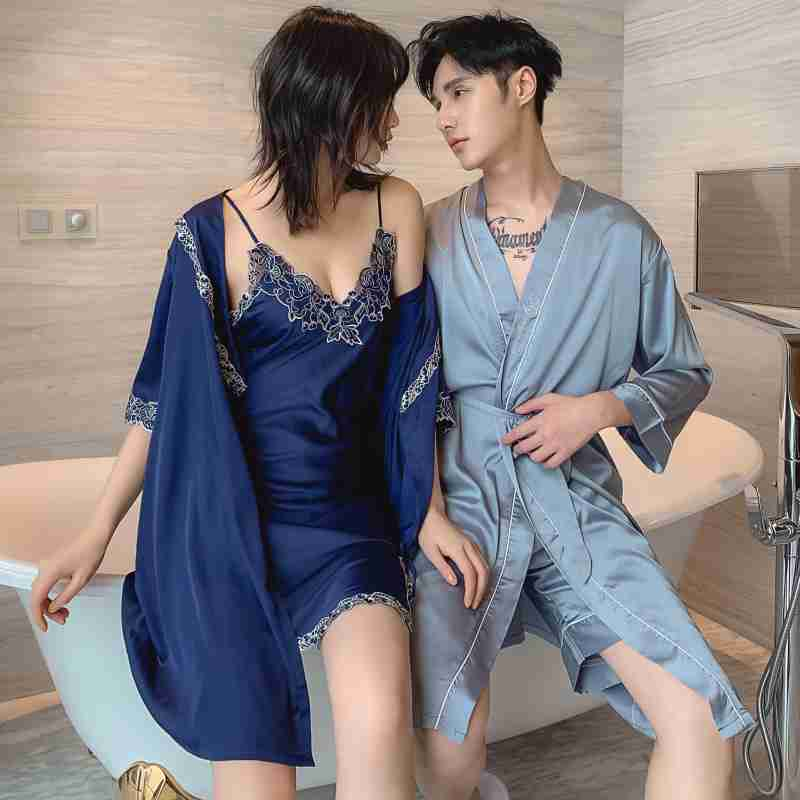 Simulation silk sexy suspenders night skirt Two-piece Female And Male Couple Nightgown on sale