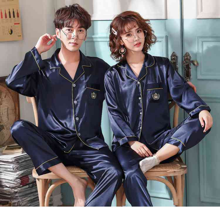 Love Heart New Simulation Silk Long Sleeve Couple Pajamas Sets on sale 6