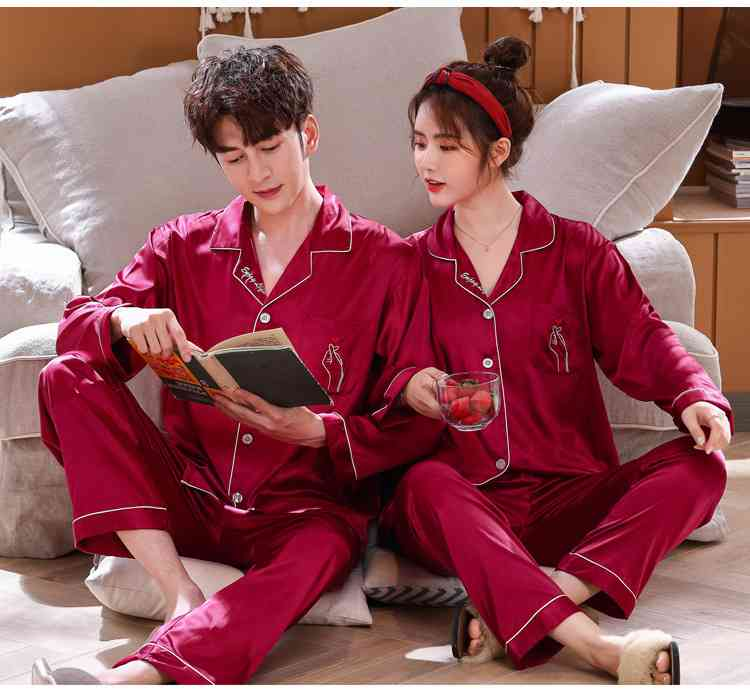 Love Heart New Simulation Silk Long Sleeve Couple Pajamas Sets on sale 7