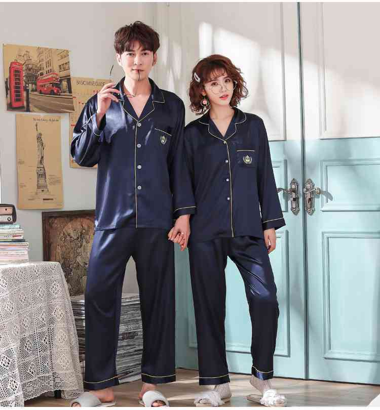 Love Heart New Simulation Silk Long Sleeve Couple Pajamas Sets on sale 9