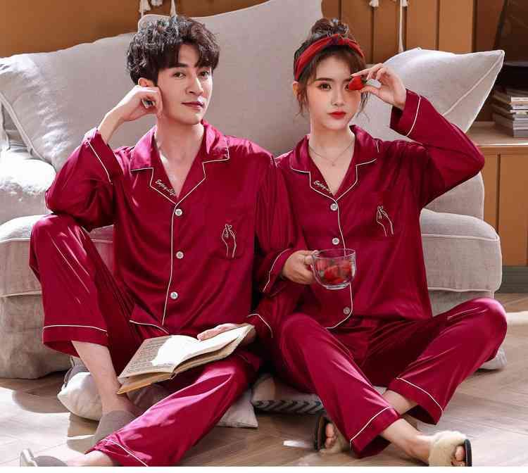 Love Heart New Simulation Silk Long Sleeve Couple Pajamas Sets on sale 11