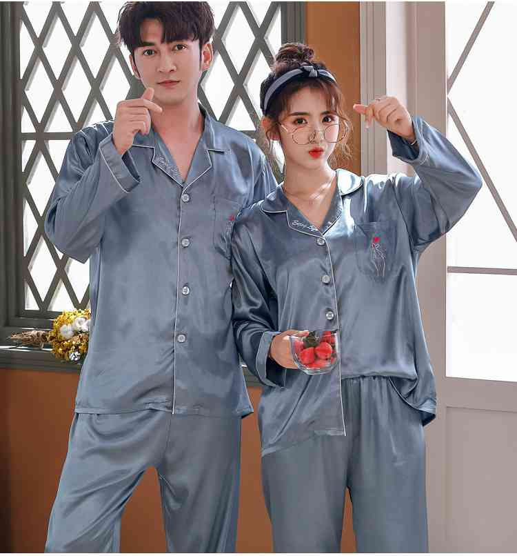 Love Heart New Simulation Silk Long Sleeve Couple Pajamas Sets on sale 12
