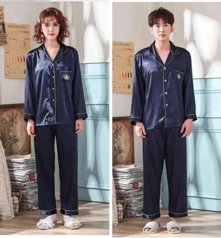 Love Heart New Simulation Silk Long Sleeve Couple Pajamas Sets on sale 13