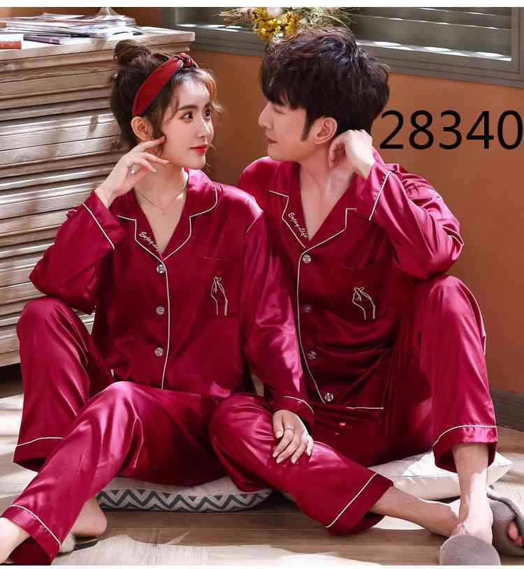 Love Heart New Simulation Silk Long Sleeve Couple Pajamas Sets on sale 16