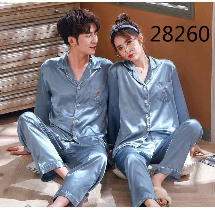 Love Heart New Simulation Silk Long Sleeve Couple Pajamas Sets on sale 17