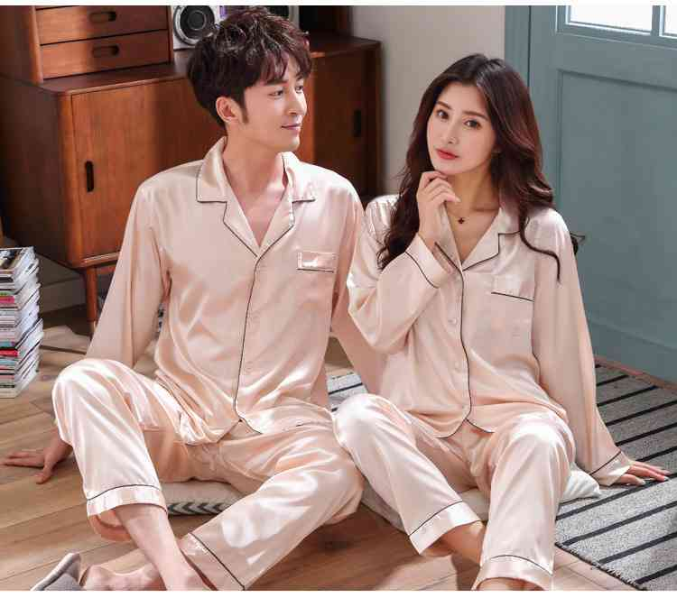 Love Heart New Simulation Silk Long Sleeve Couple Pajamas Sets on sale 19