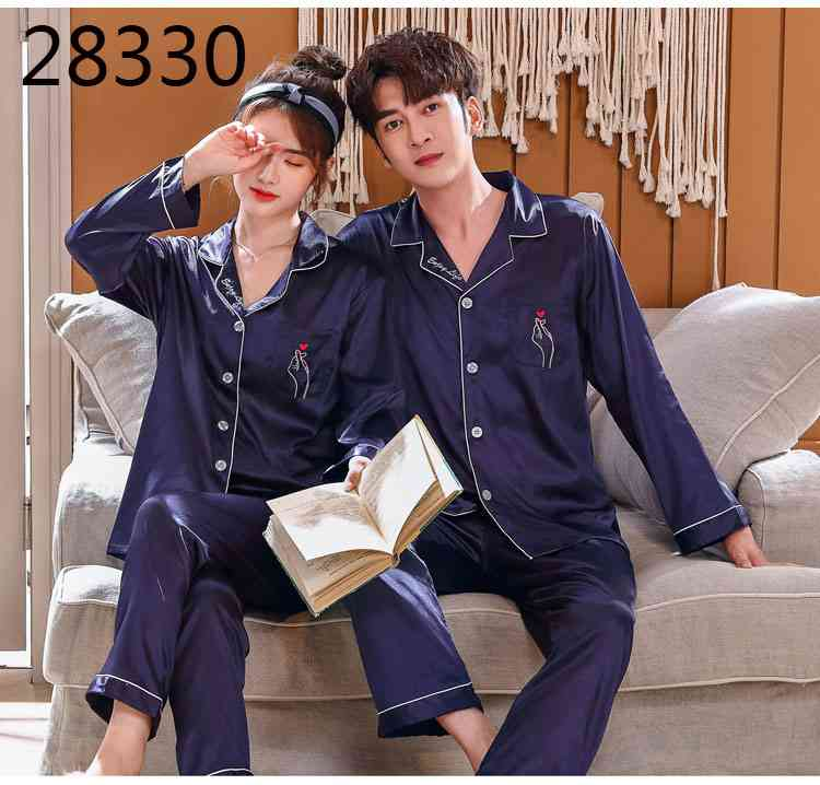 Love Heart New Simulation Silk Long Sleeve Couple Pajamas Sets on sale 20