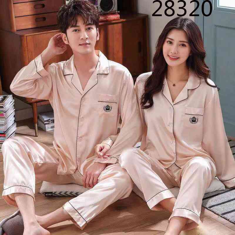 Love Heart New Simulation Silk Long Sleeve Couple Pajamas Sets on sale 23