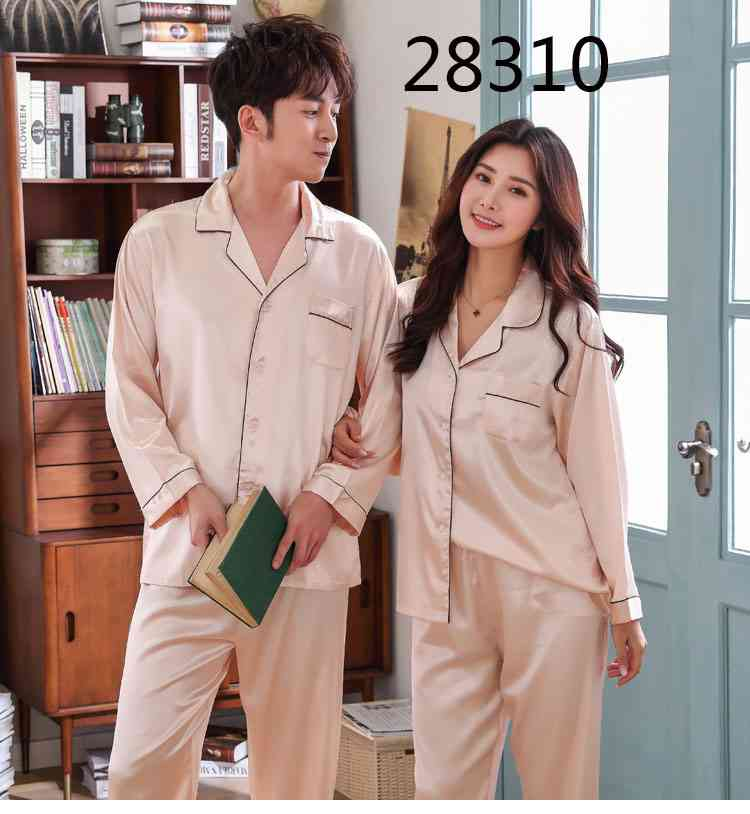 Love Heart New Simulation Silk Long Sleeve Couple Pajamas Sets on sale 24