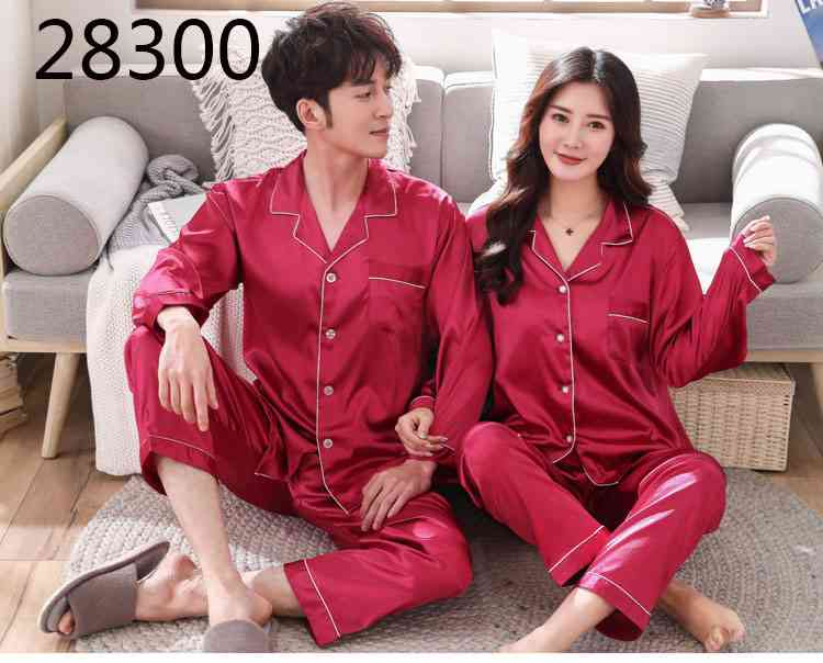 Love Heart New Simulation Silk Long Sleeve Couple Pajamas Sets on sale 25