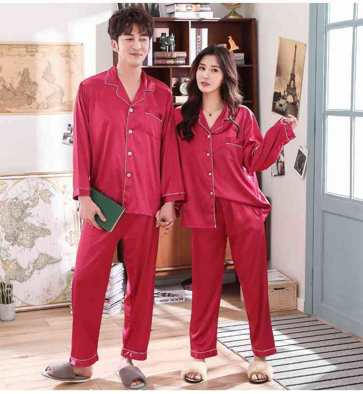 Love Heart New Simulation Silk Long Sleeve Couple Pajamas Sets on sale 1