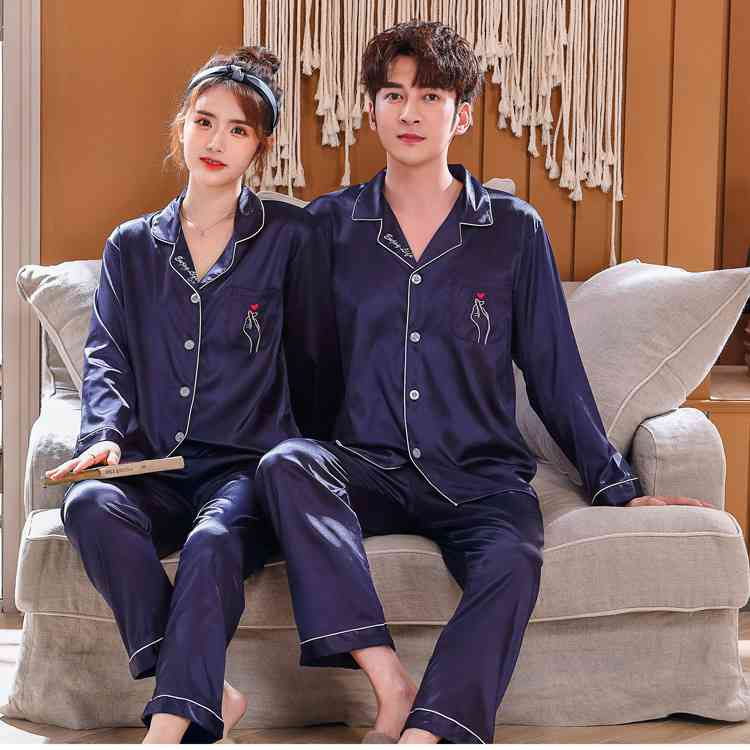 Love Heart New Simulation Silk Long Sleeve Couple Pajamas Sets on sale 2