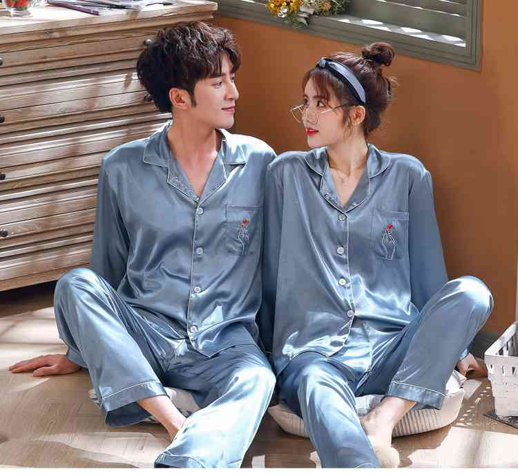 Love Heart New Simulation Silk Long Sleeve Couple Pajamas Sets on sale 3