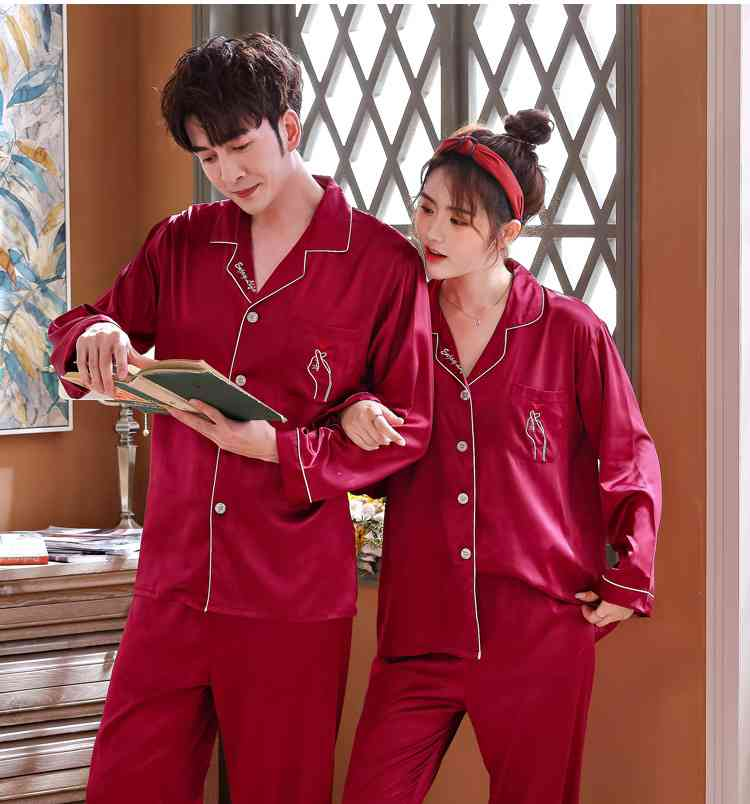 Love Heart New Simulation Silk Long Sleeve Couple Pajamas Sets on sale 4