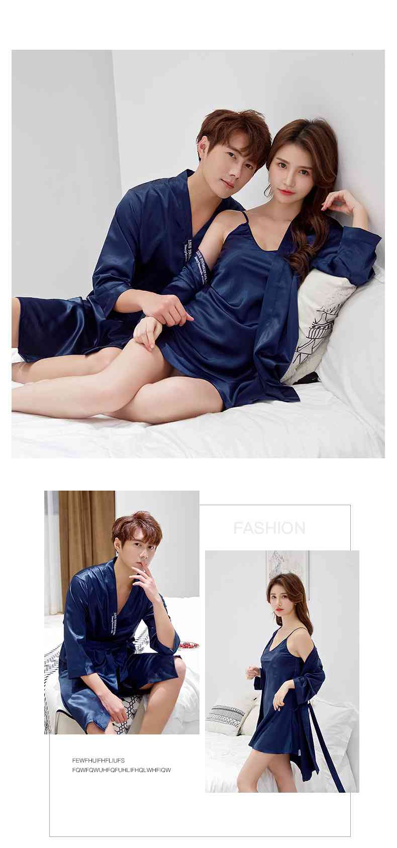 Korean Simulation Silk Men And Women Sexy Couple Home Service Nightgown on sale