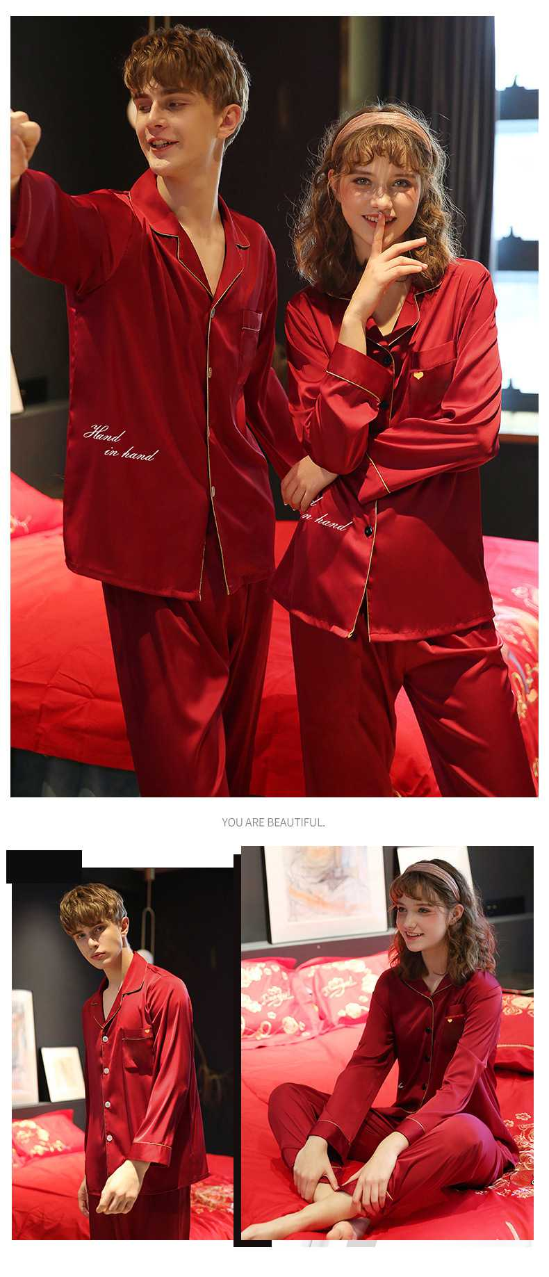 Couple pajamas simulation silk long sleeve suit home service on sale 6