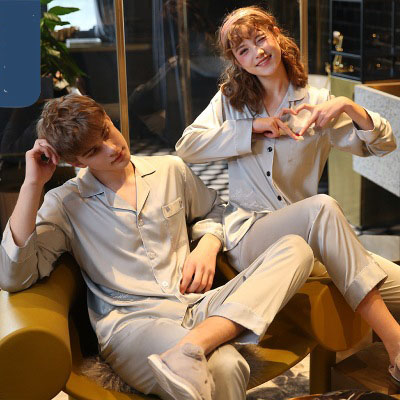 Couple pajamas simulation silk long sleeve suit home service on sale 2