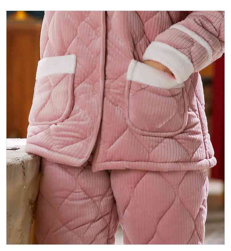 Korean version three-layer thick quilted coral flannel plus velvet warm Couple Pajamas on sale