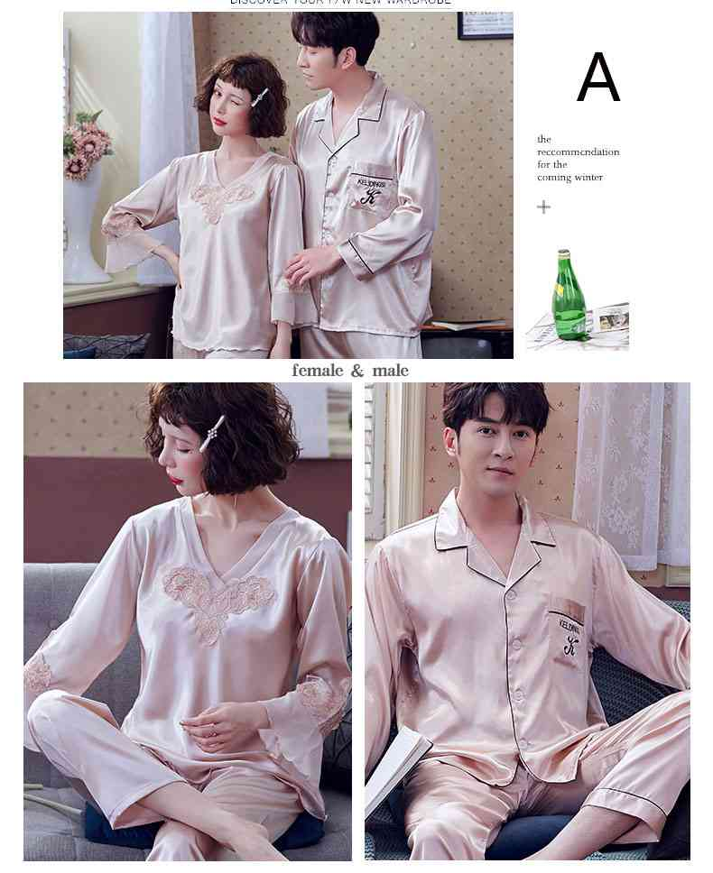 Couple Pajamas Ice Silk Sexy Thin Section Long-sleeve Home Service Suit on sale 12
