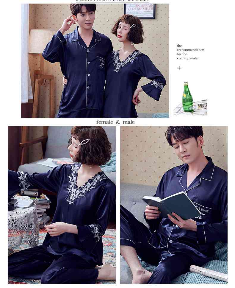 Couple Pajamas Ice Silk Sexy Thin Section Long-sleeve Home Service Suit on sale 2