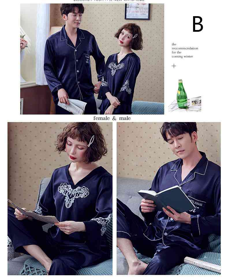 Couple Pajamas Ice Silk Sexy Thin Section Long-sleeve Home Service Suit on sale 3