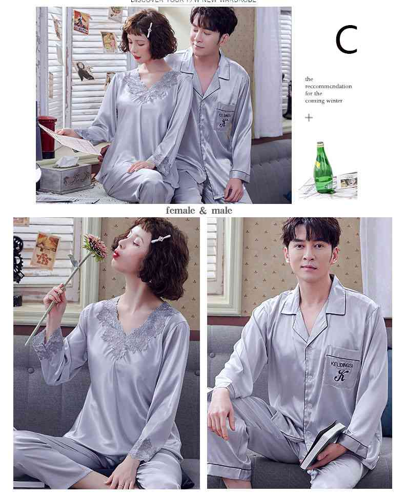Couple Pajamas Ice Silk Sexy Thin Section Long-sleeve Home Service Suit on sale 4