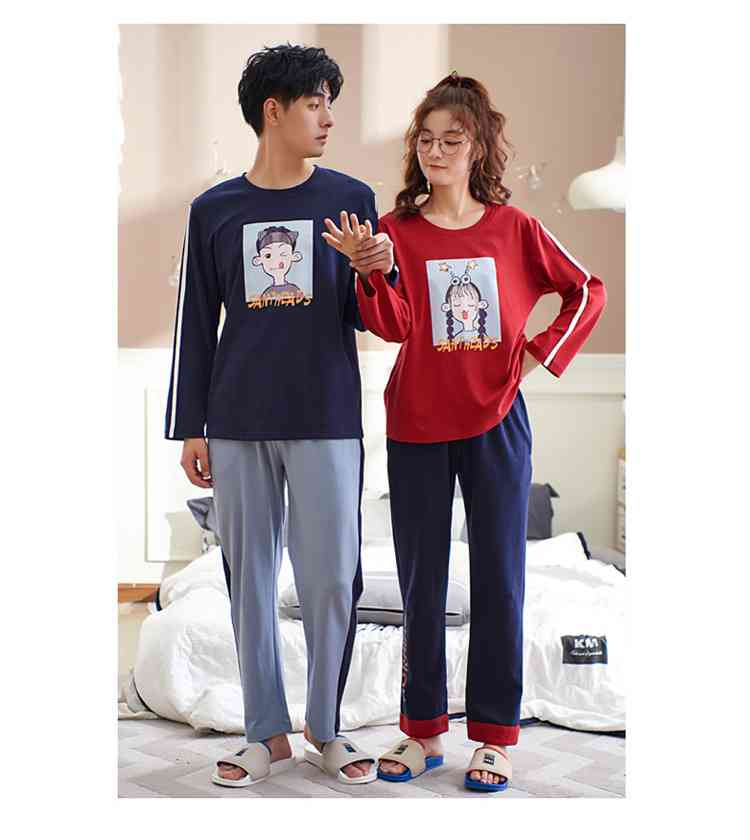 Cotton hedging long-sleeved couple pajamas home service suit factory direct sales on sale