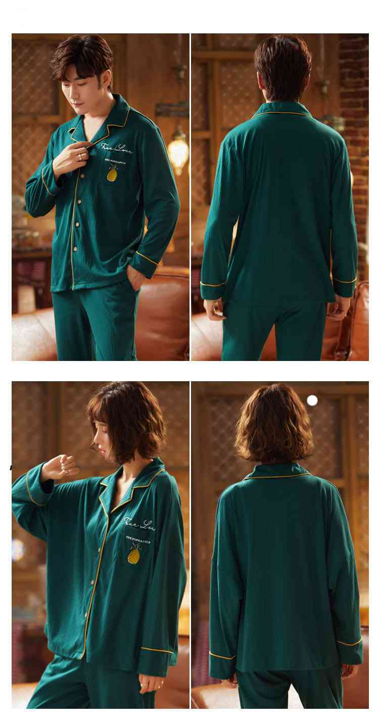 Korean cartoon cute home clothes lapel cardigan sweet mens women pajamas can be worn outside on sale 9