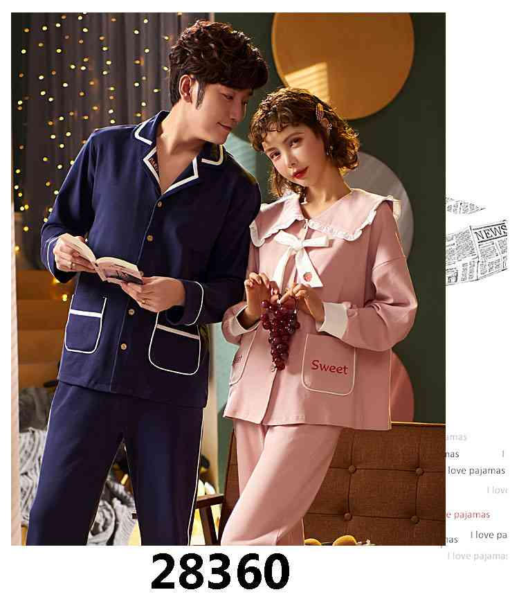 Korean cartoon cute home clothes lapel cardigan sweet mens women pajamas can be worn outside on sale 12