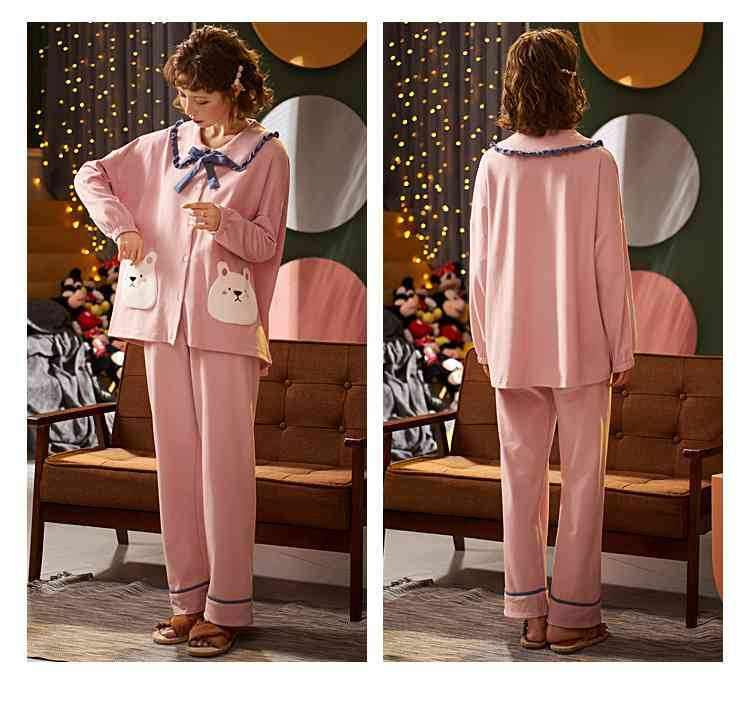 Korean cartoon cute home clothes lapel cardigan sweet mens women pajamas can be worn outside on sale 14