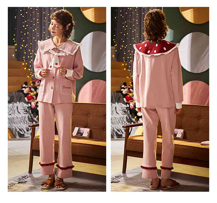 Korean cartoon cute home clothes lapel cardigan sweet mens women pajamas can be worn outside on sale 17