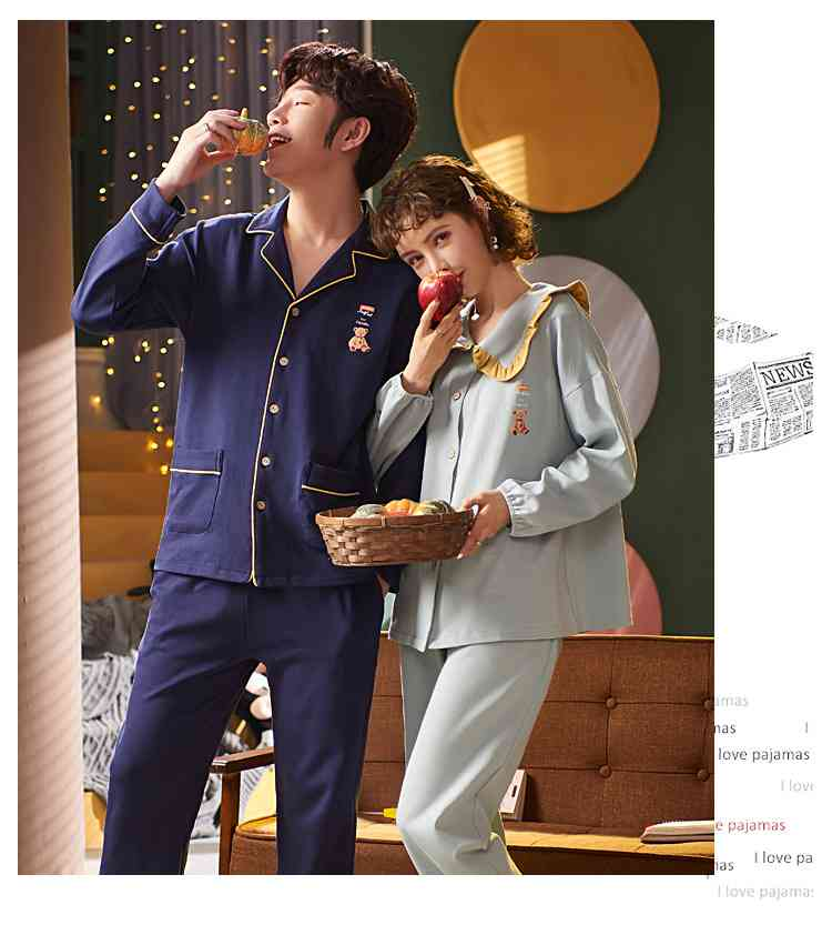 Korean cartoon cute home clothes lapel cardigan sweet mens women pajamas can be worn outside on sale 18
