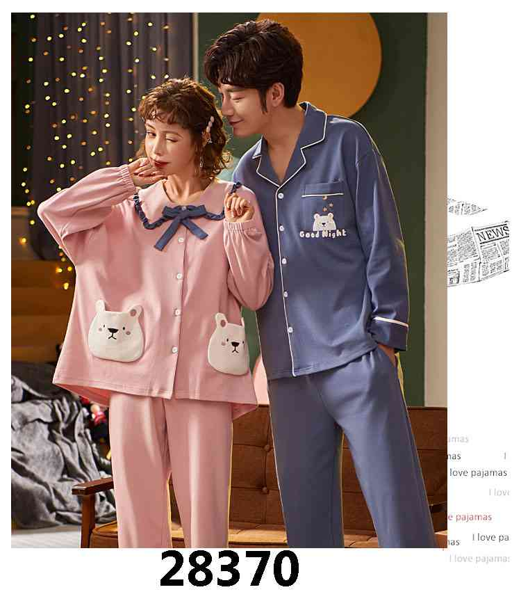 Korean cartoon cute home clothes lapel cardigan sweet mens women pajamas can be worn outside on sale 19